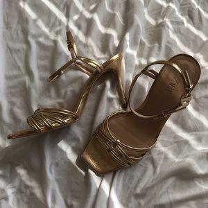 Zara Gold Square Toe Ankle Strap Heels